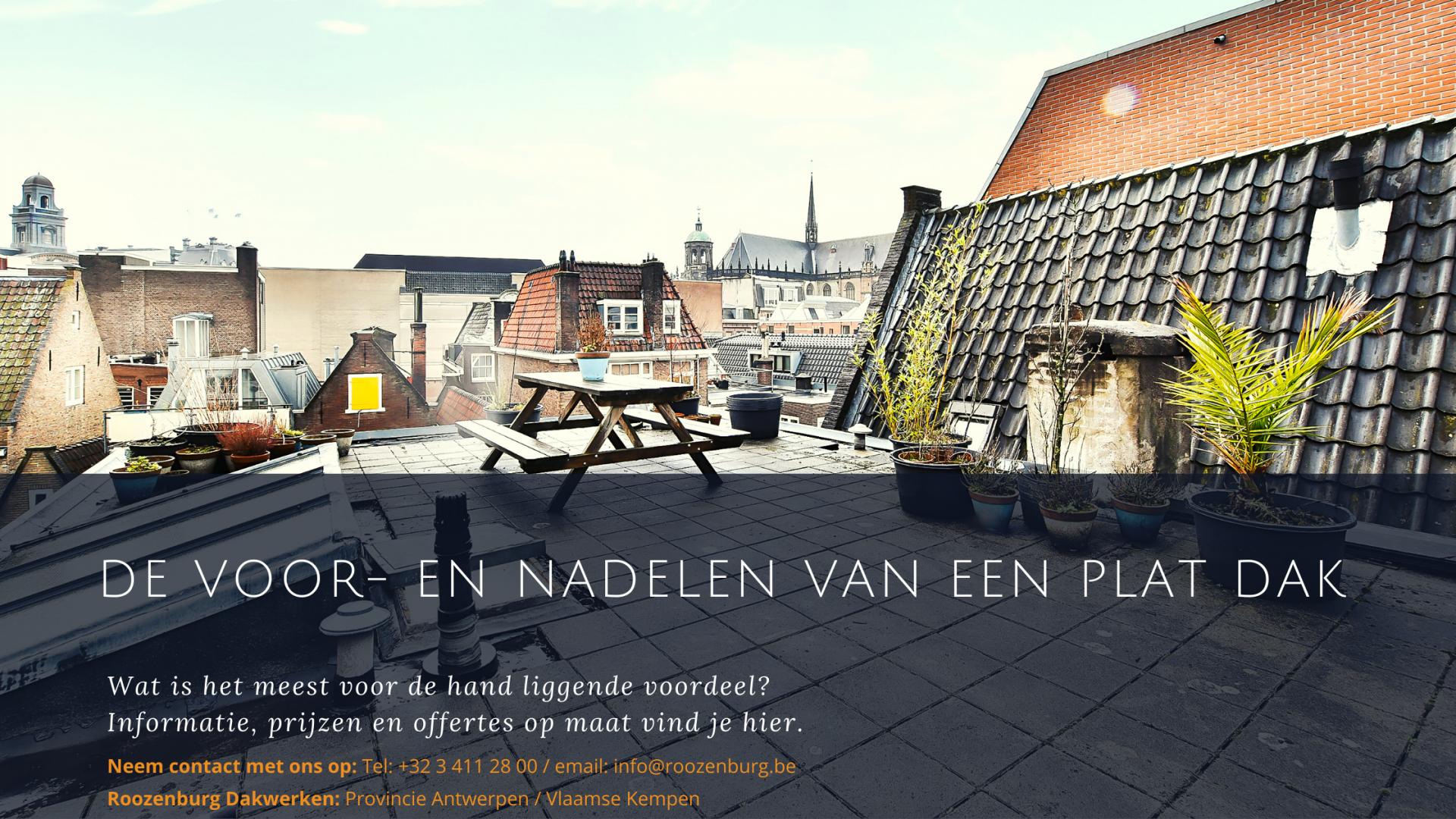 Plat dak met plantenbakken en picnic tafel